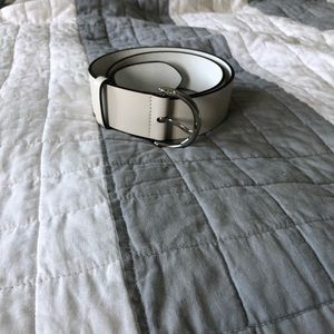 Coach Leather Wide Belt White / Ivory